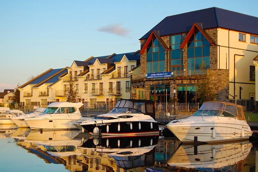 Boats docked at the Leitrim Marina hotel
