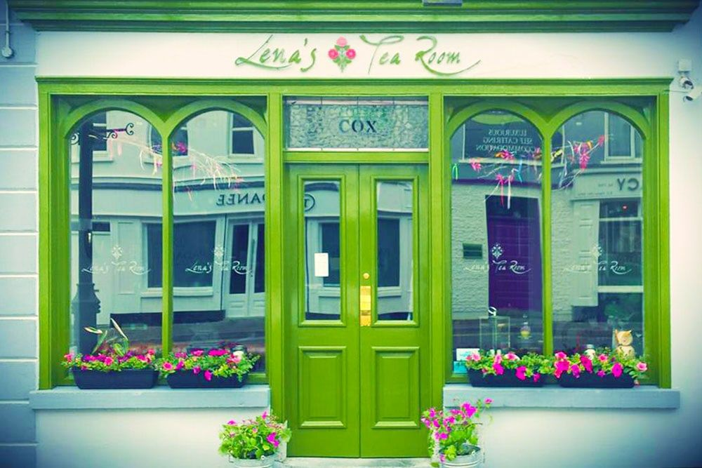 Green door at Lena's Tearooms in Carrick on Shannon