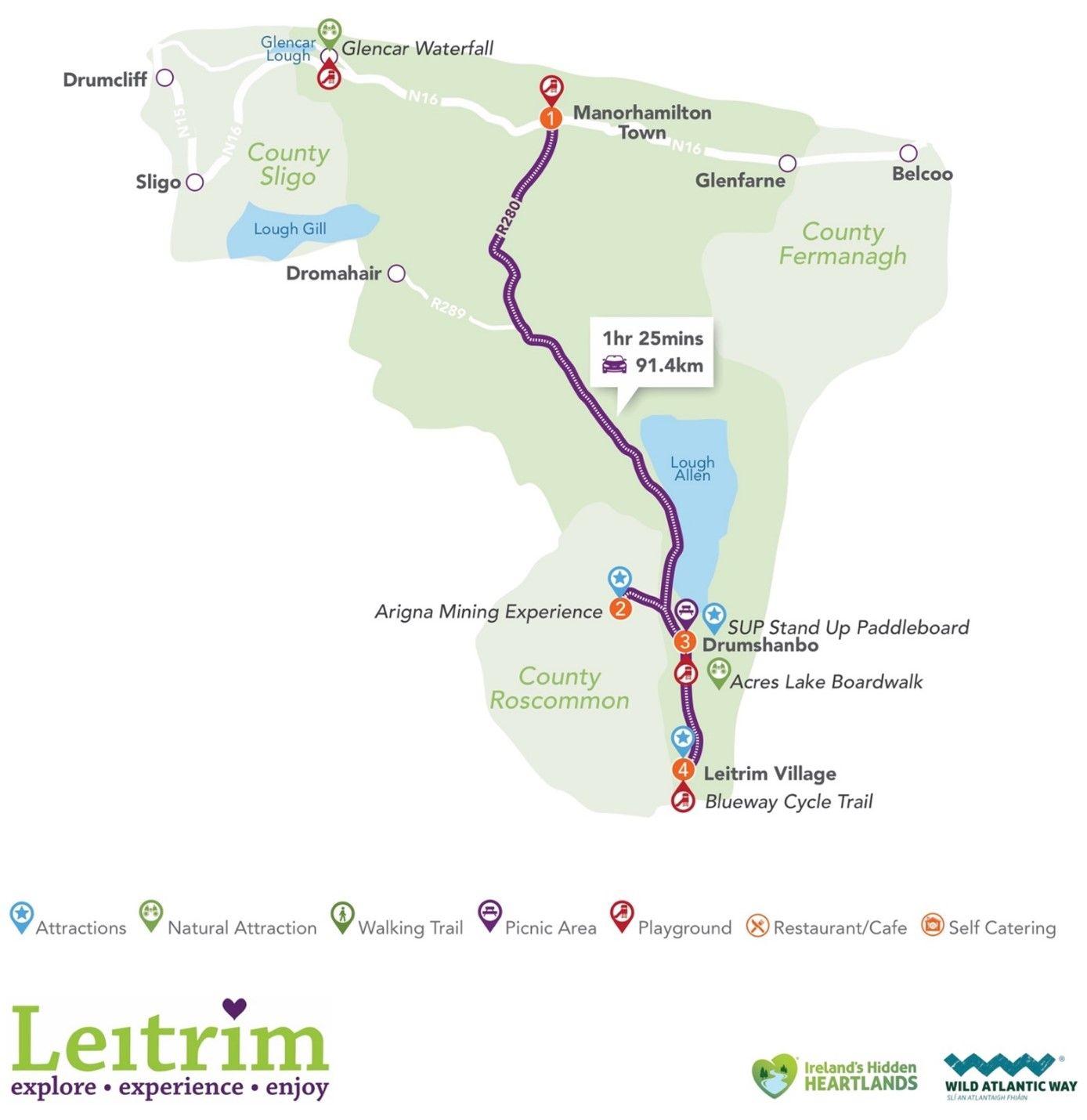 Map - Manorhamilton to Drumshanbo